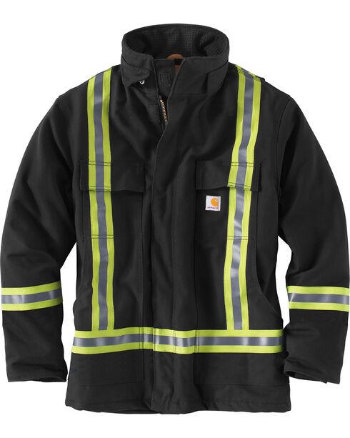 Carhartt Men's Black High-Visibility Striped Duck Traditional Coat, Black, hi-res