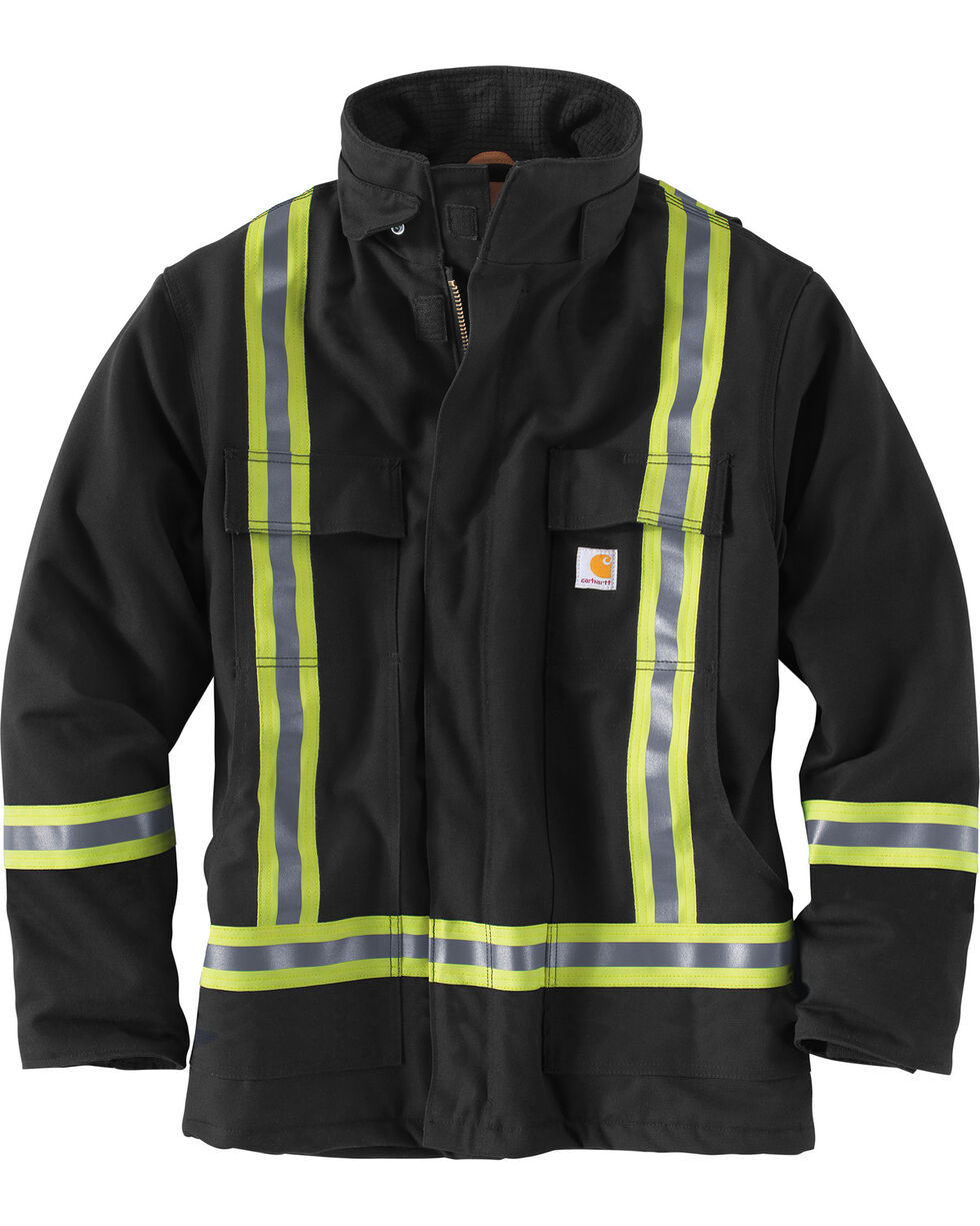 Carhartt Men's Black High-Visibility Striped Duck Traditional Coat - Big & Tall, Black, hi-res