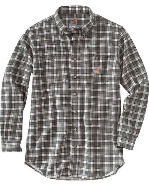 Carhartt Men's Flame Resistant Classic Plaid Shirt, Grey, hi-res