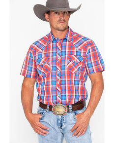 Rock & Roll Cowboy Men's Crinkle Poplin Plaid Short Sleeve Western Shirt , Red, hi-res