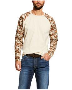 Ariat Men's FR Sand/Digi Camo Baseball Long Sleeve Work T-Shirt - Tall , Camouflage, hi-res