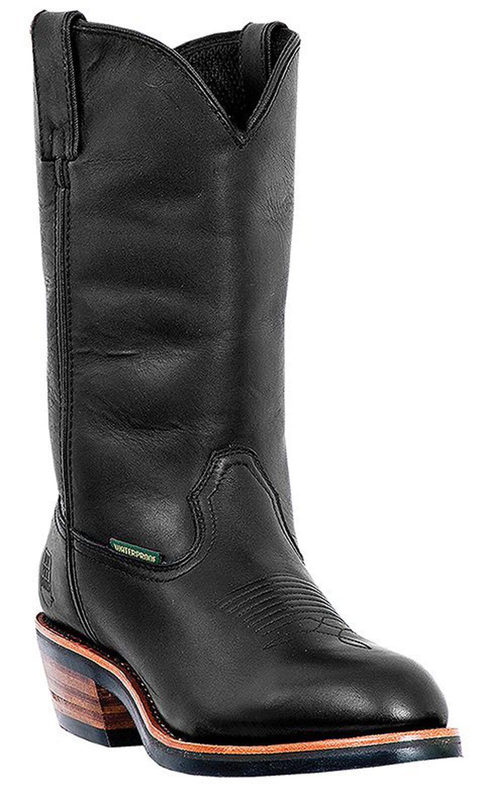 Dan Post Albuquerque Waterproof Pull-On Work Boots - Round Toe, Black, hi-res