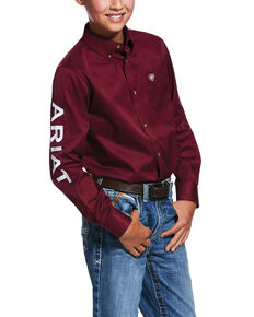 Ariat Boys' Burgundy Solid Logo Team Long Sleeve Western Shirt , Burgundy, hi-res