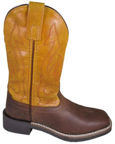 Smoky Mountain Youth Boys' Crockett Western Boots - Square Toe, Brown, hi-res