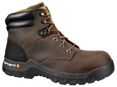 """Carhartt Work Flex 6"""" Lace-Up Work Boots - Round Toe, Brown, hi-res"""
