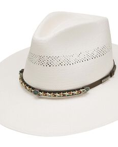 Stetson Natural 10X Lexington Western Shantung Straw Hat , Natural, hi-res