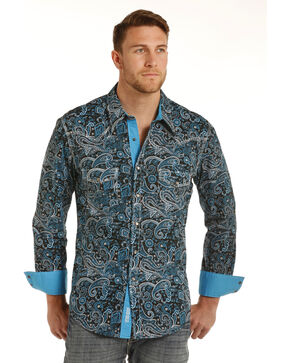 Rock & Roll Cowboy Men's Blue Paisley Print Shirt , Turquoise, hi-res