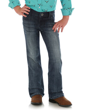 Wrangler Girls' Everyday Mid-Rise Boot Jeans , Blue, hi-res