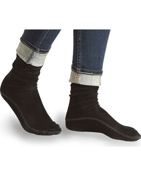 LeGale Women's Black Velvet Crew Socks , Black, hi-res