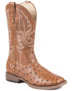 Roper Youth Boys' Ostrich Print Cowboy Boots - Square Toe, Tan, hi-res