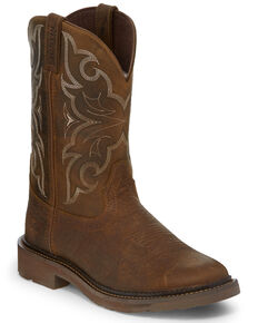 Justin Men's Amarillo Western Work Boots - Round Toe, Brown, hi-res
