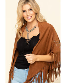Idyllwind Women's Dancer Faux Suede Fringe Wrap, Brown, hi-res