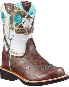 Ariat Youth Girls' Fatbaby Snowy Camo Boots, Brown, hi-res