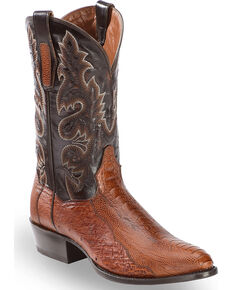 Dan Post Men's Ostrich Leg Cowboy Boots - Medium Toe, Cognac, hi-res