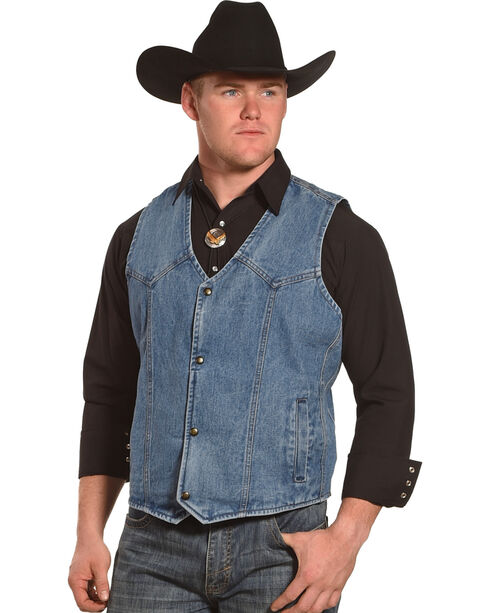 Liberty Wear Men's Blue Indigo Denim Vest, Indigo, hi-res