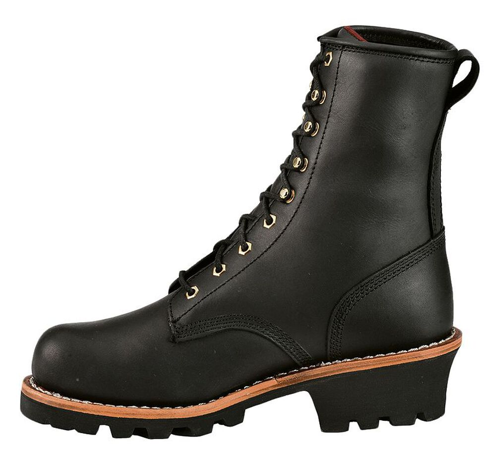 "Chippewa Women's 8"" Oiled Insulated Logger Boots - Round Toe, Black, hi-res"