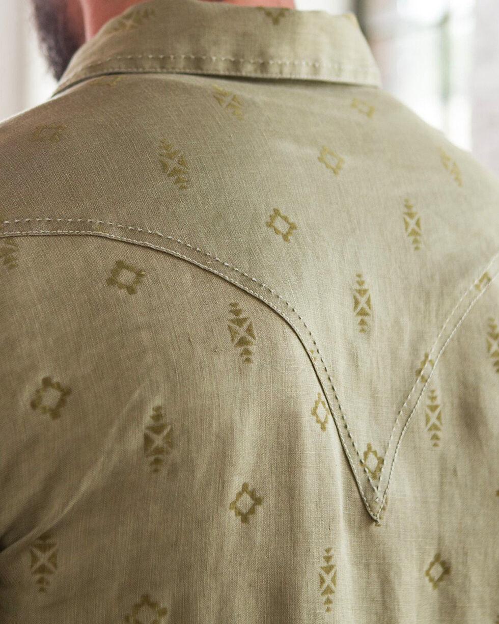 Ryan Michael Men's Teak Navajo Flocked Linen Shirt, Brown, hi-res