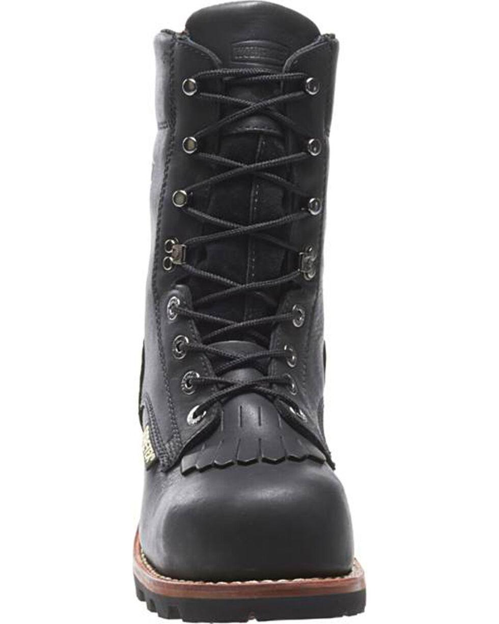 "Wolverine Men's 8"" Buckeye Logger Boots - Alloy Toe, Black, hi-res"