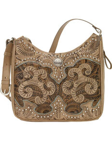 American West Women's Hand Tooled Concealed Carry Shoulder Bag, Sand, hi-res
