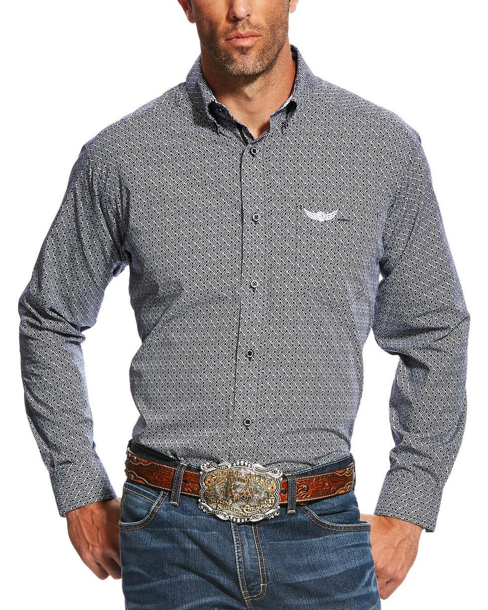 Ariat Men's Navy Supreme Print Long Sleeve Shirt , Navy, hi-res
