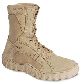 "Rocky S2V Vented 8"" Lace-Up Military Boots - Round Toe, Tan, hi-res"