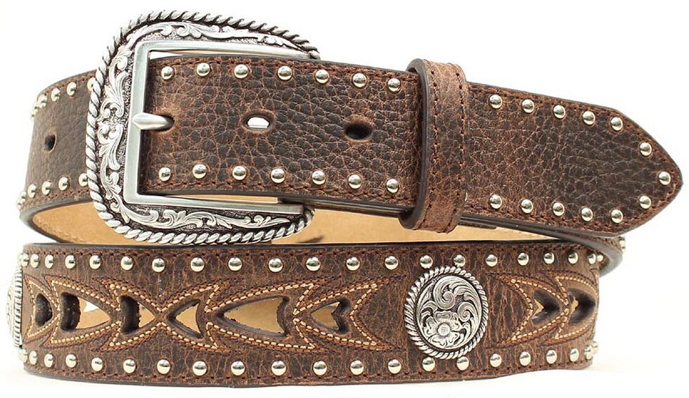 Nocona Fancy Cutout & Concho Belt, Brown, hi-res