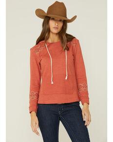 Panhandle Women's Rust Aztec Embroidered Pullover Hoodie , Rust Copper, hi-res