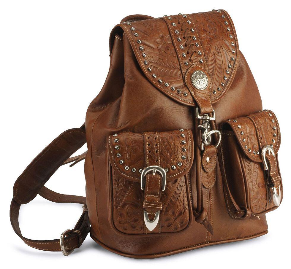 American West Leather Backpack, Brown, hi-res