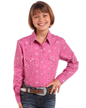 Panhandle Girls' Native Print Snap Long Sleeve Western Shirt , Pink, hi-res