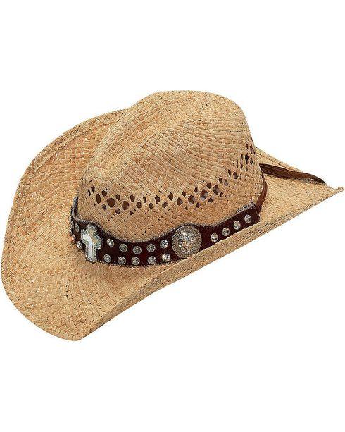 Blazin Roxx Rhinestone Cross Concho Hat Band Raffia Straw Cowgirl Hat, Natural, hi-res