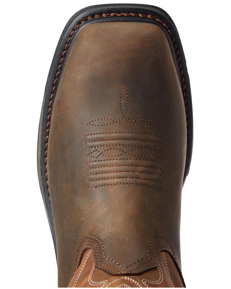 Ariat Men's Waterproof Big Rig Western Work Boots - Composite Toe, Brown, hi-res