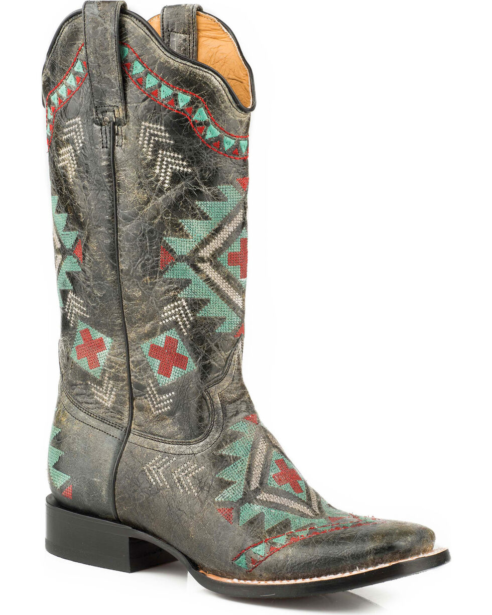 Roper Women's Aztec Embroidered Cowgirl Boots - Square Toe, Black, hi-res