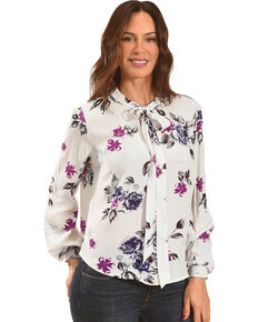 Shyanne Floral Tie-Front Long Sleeve Top, White, hi-res