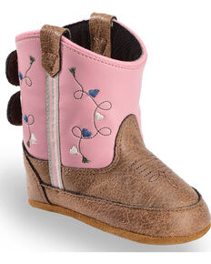 Old West Infant Girls' Pink Boots - Round Toe, Brown, hi-res