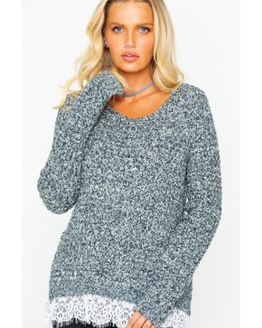 Shyanne Women's Lace Knit Sweater, Charcoal, hi-res