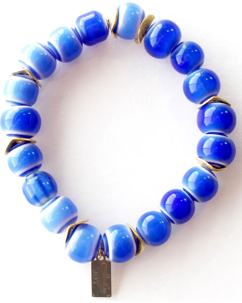 Everlasting Joy Jewelry Women's Blue Tile Gold Chip Bracelet , Blue, hi-res
