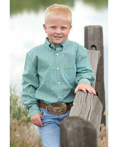 e68b0aa2 Cinch Boys Geo Print Button Long Sleeve Western Shirt , Multi, hi-res