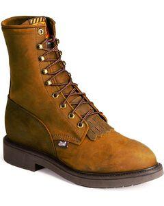 "Justin Original Men's Briar Pitstop Double Comfort 8"" Lace-Up Work Boots, Brown, hi-res"