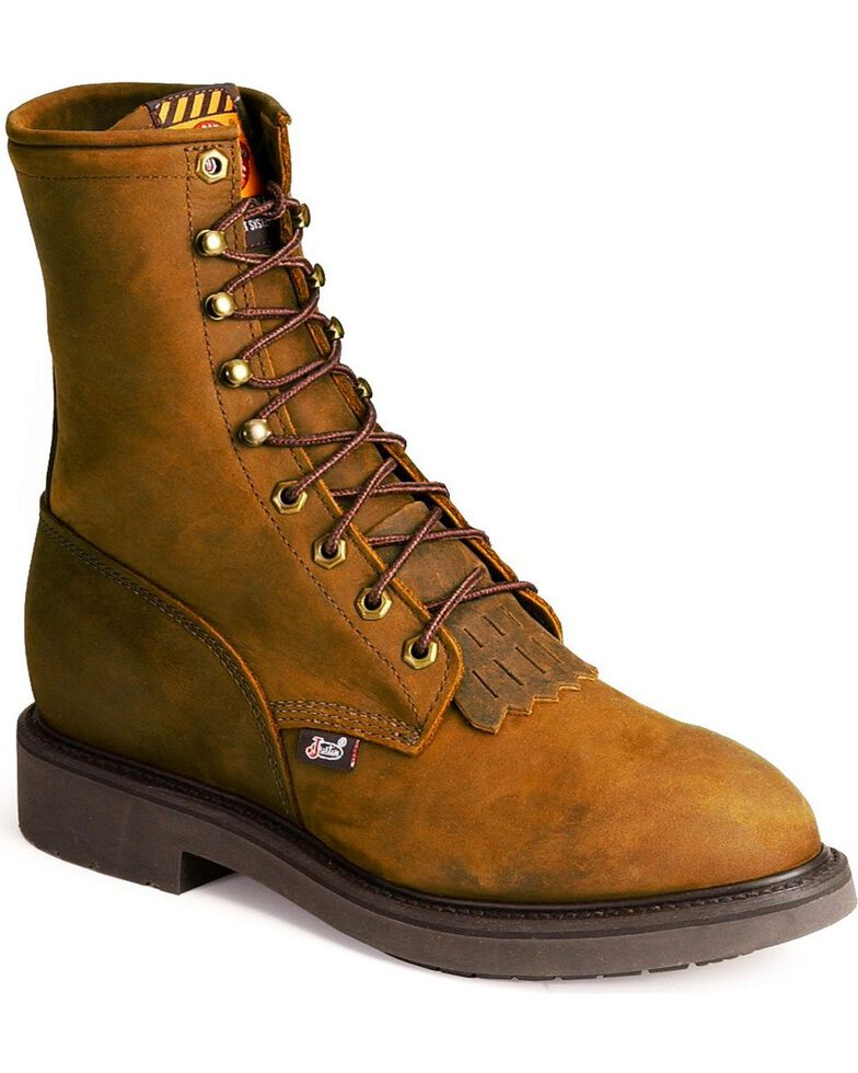 "Justin Men's Conductor 8"" Lace-Up Work Boots - Soft Toe, Brown, hi-res"