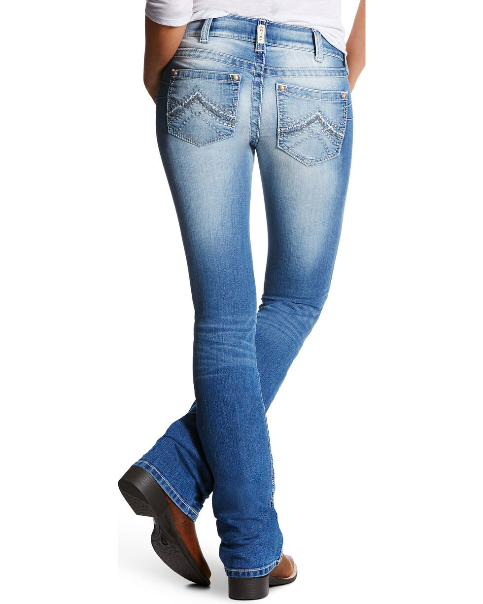 Ariat Women's R.E.A.L. Emma Low Rise Light Wash Jeans - Boot Cut, Blue, hi-res