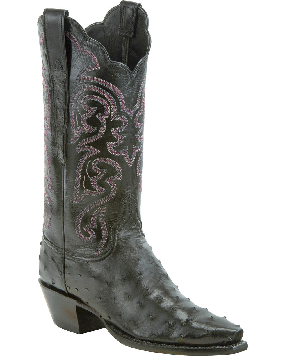 Lucchese Women's Handmade Black Audrey Full Quill Ostrich Western Boots - Snip Toe, Black, hi-res