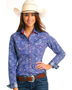 Rough Stock by Panhandle Women's Sherbrooke Vintage Print Long Sleeve Shirt, Blue, hi-res