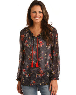 Panhandle Women's Sheer Print Peasant Top - Plus, Black, hi-res