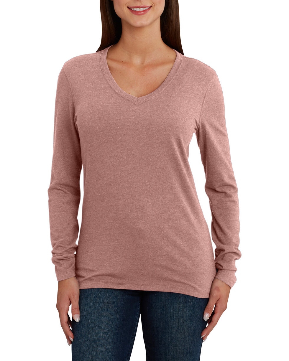Carhartt Women's Brown Lockhart Long Sleeve V-Neck Shirt , Burgundy, hi-res