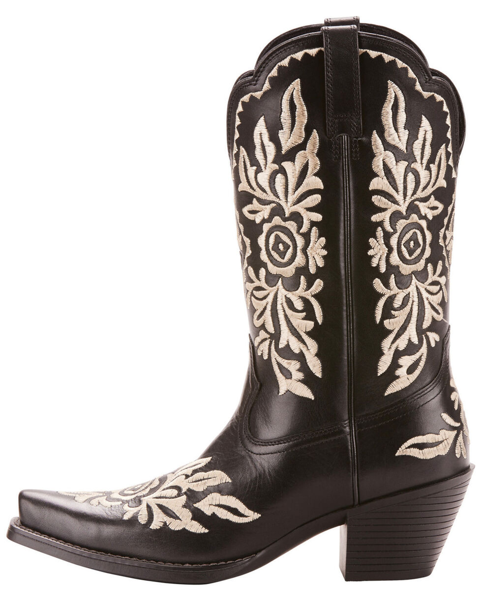 Ariat Women's Black Harper Floral Boots - Snip Toe , Black, hi-res