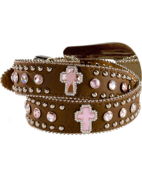 Nocona Girls Rhinestone Cross Leather Belt - 18-26, Brown, hi-res
