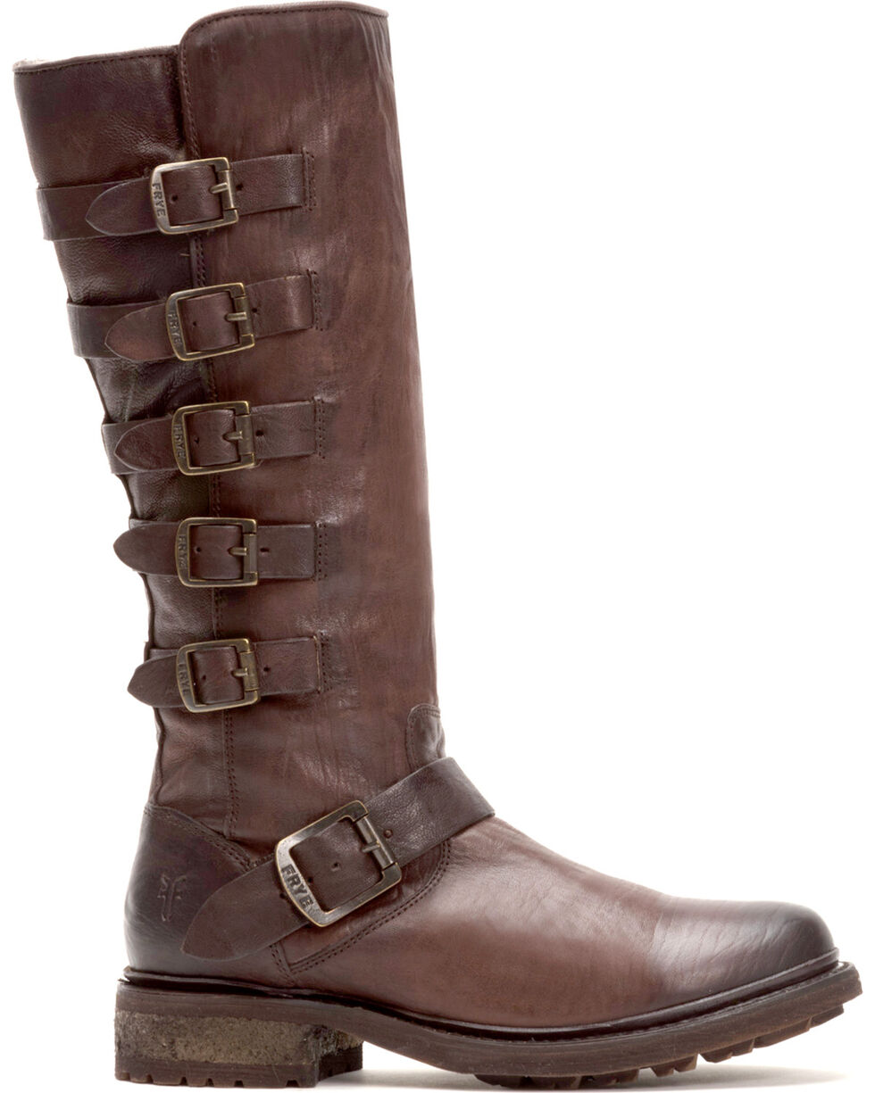 Frye Women's Dark Brown Valerie Belted Tall Shearling Boots - Round Toe , Dark Brown, hi-res