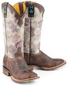 Tin Haul Women's Rosealiscious Western Boots - Wide Square Toe, Brown, hi-res