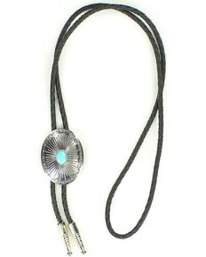 Oval Turquoise Stone Bolo Tie, Silver, hi-res