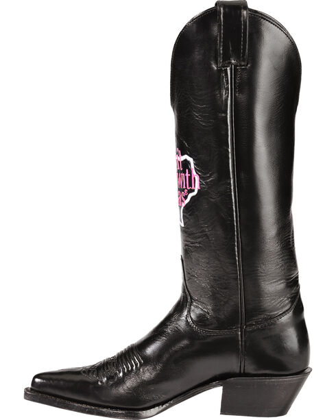 """Justin """"Don't Mess with Texas"""" Calfskin Cowgirl Boots - Pointed Toe, Black, hi-res"""